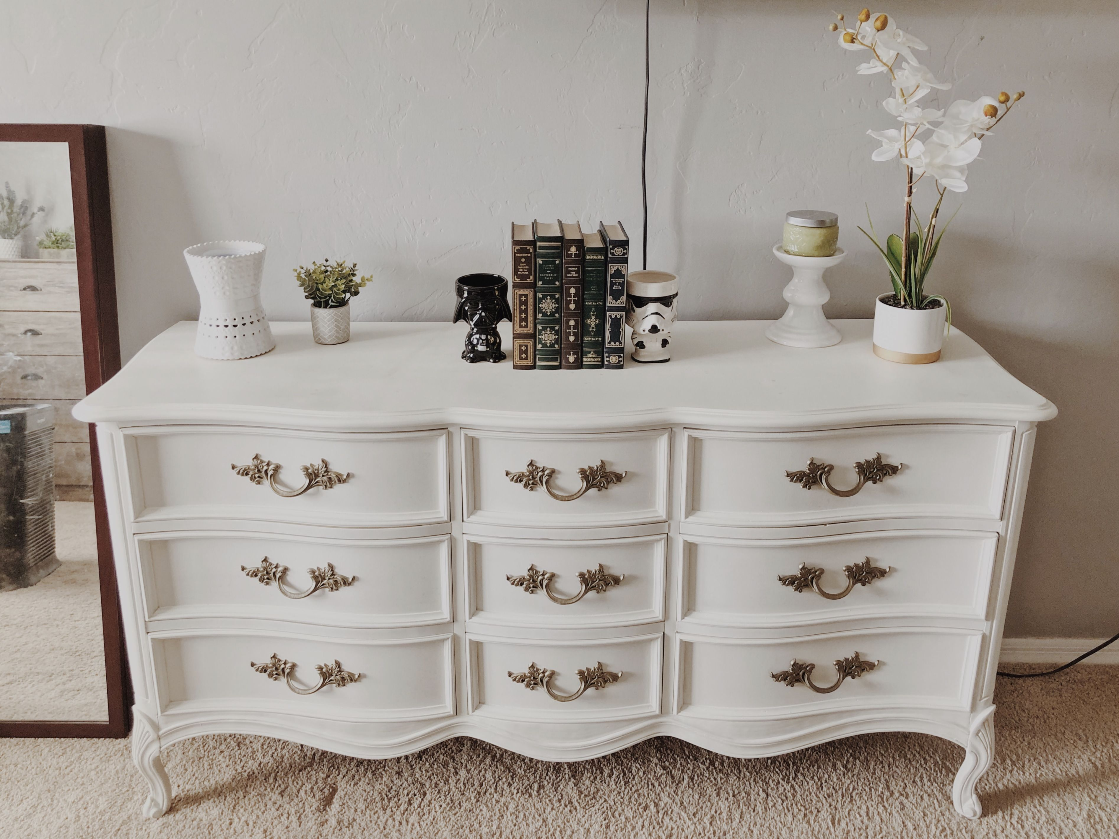 DIY makeover on an antique French Provincial dresser using