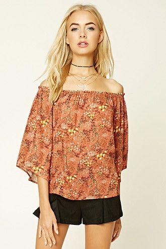 1c50e4c2661ffc Floral Print Off Shoulder Top from Forever 21 R199
