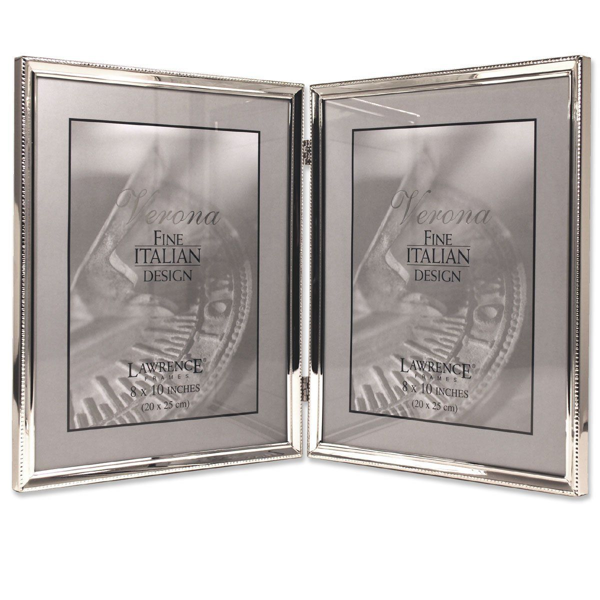 Lawrence frames polished silver plate 8x10 hinged double picture lawrence frames polished silver plate 8x10 hinged double picture frame bead border design amazon jeuxipadfo Gallery