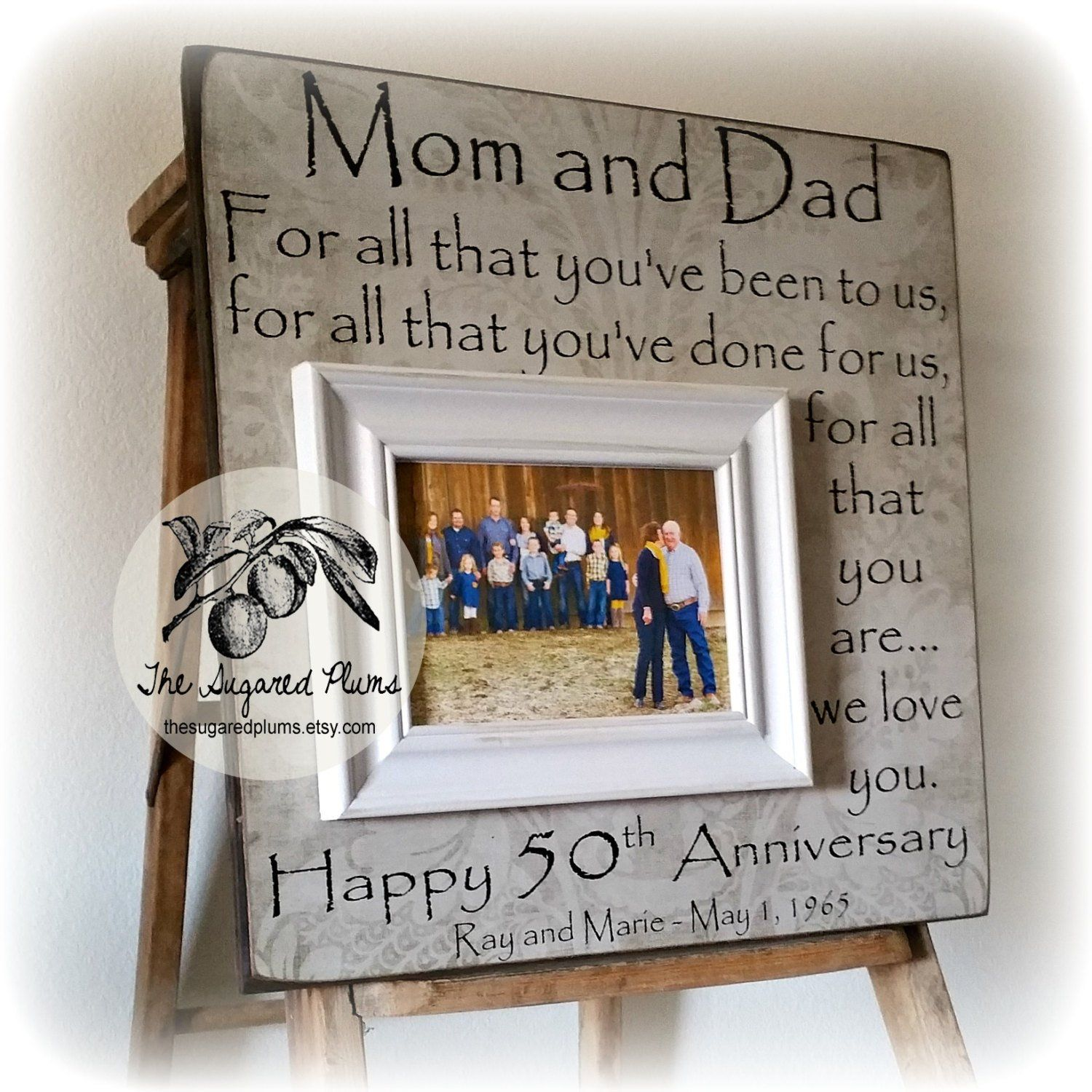 50th Anniversary Gifts for Parents Picture Frame, Golden