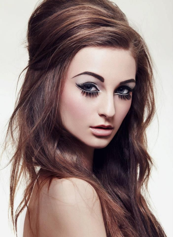 A Modern Spin On The 1960s Make Up Loosely Styled Beehive Dark