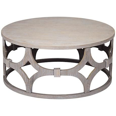 Lanini Gray Wash Round Coffee Table bench coffee tables