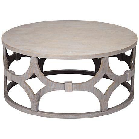 Lanini Gray Wash Round Coffee Table Round Coffee Table Coffee
