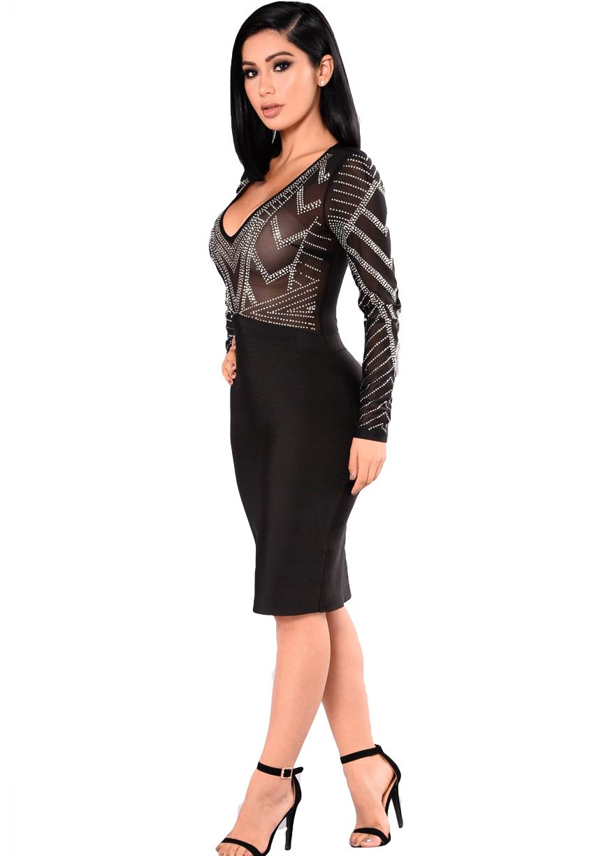 Black Mesh Rhinestone Top Bodycon Dress_Club Dress_Clubwear ...