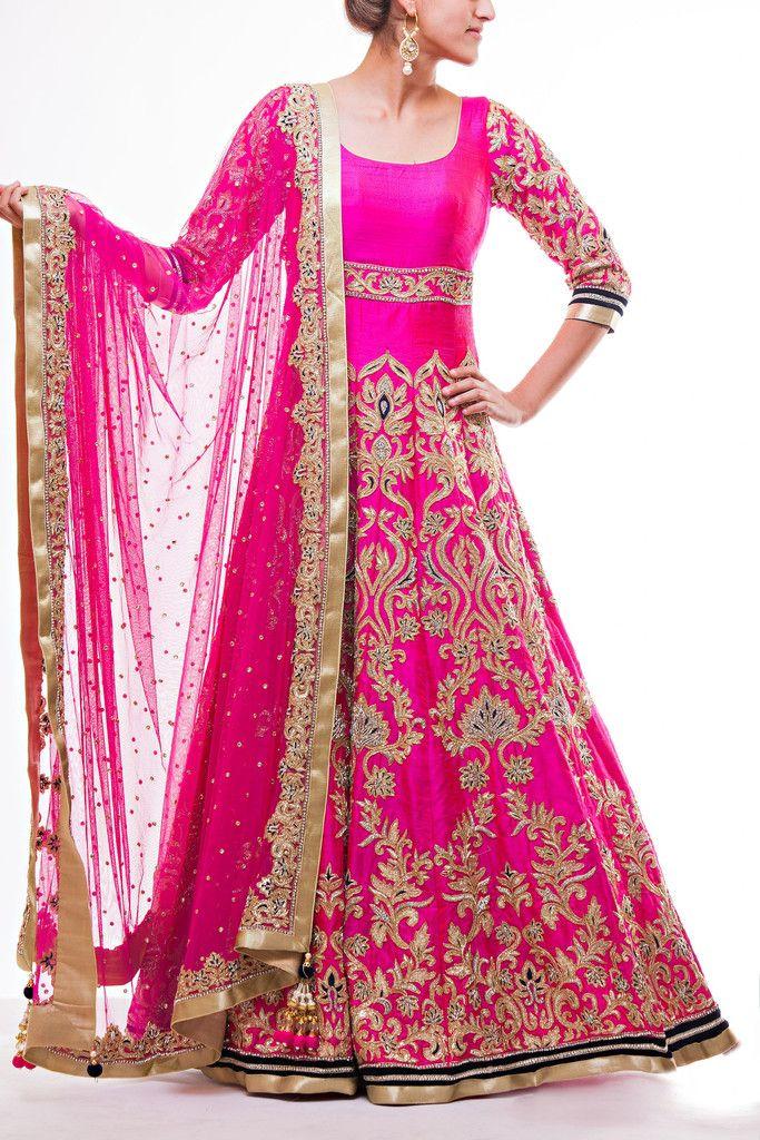 Hot Pink Floor Length Bridal Anarkali Bridal anarkali