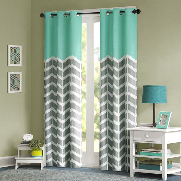 The Nadia Window Panel Makes Any Bedroom Fun And Inviting Features A Fresh Solid Teal Color Top Border With Grey White Chevron Print That