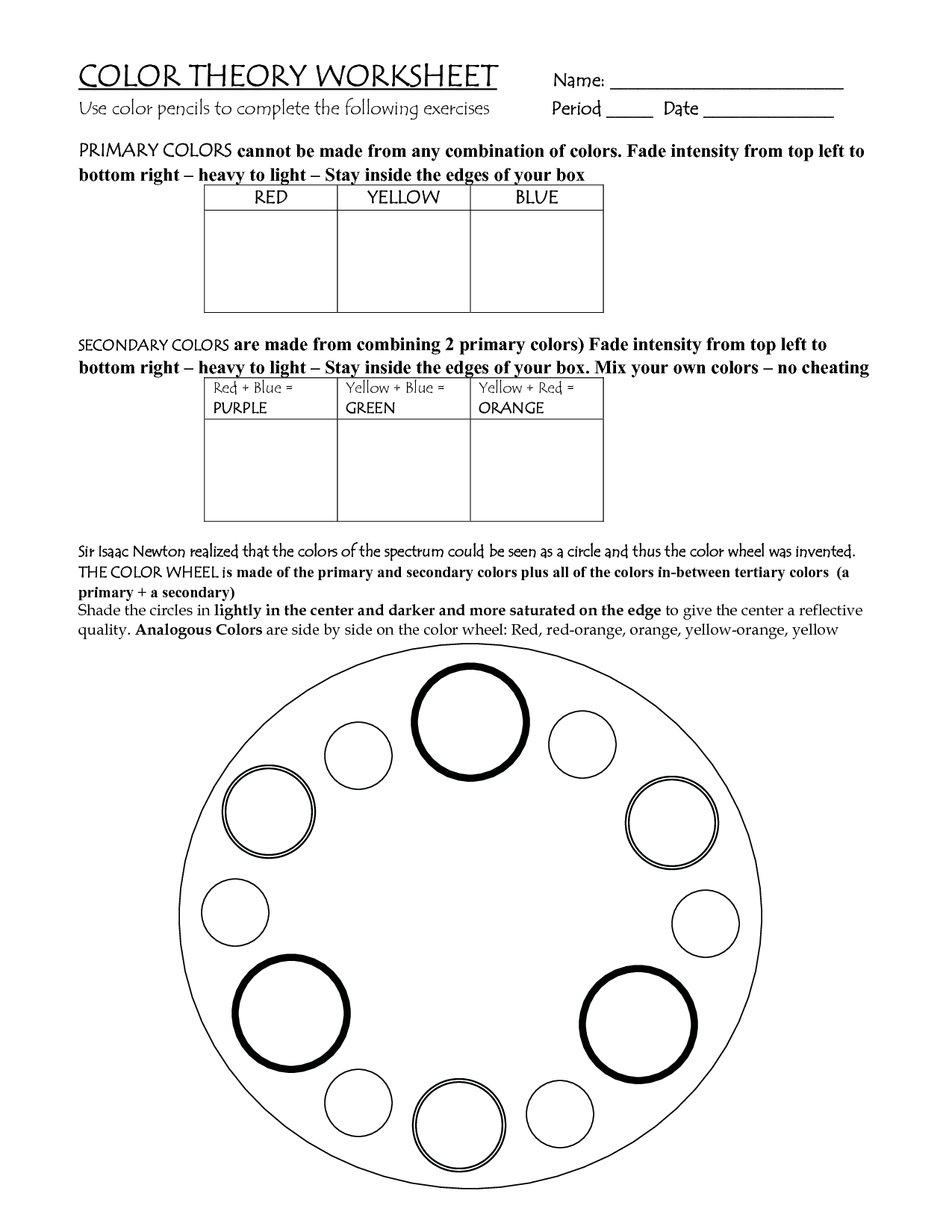Color Theory Lesson Plans COLOR THEORY WORKSHEET Name