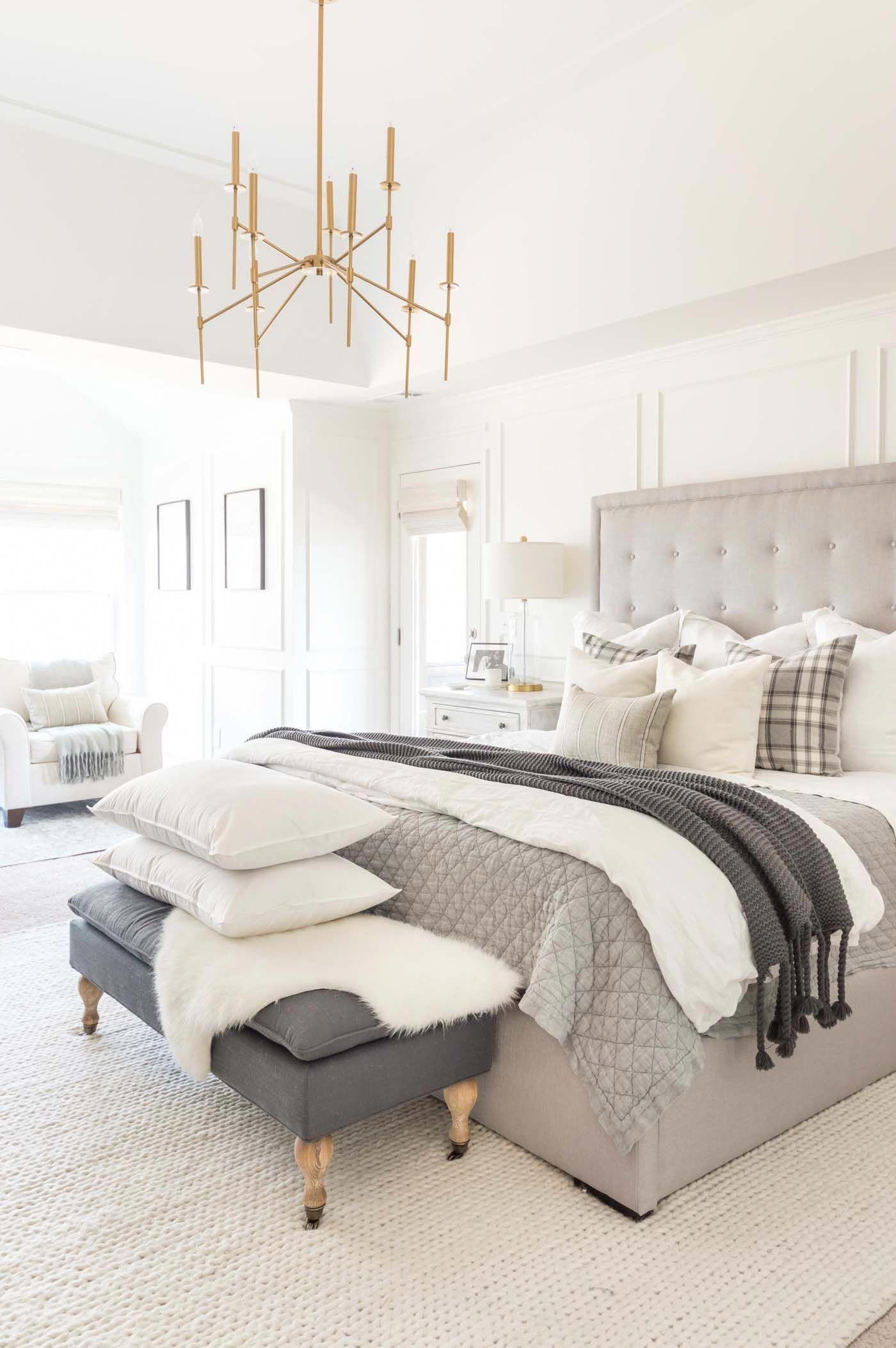 Neutral Winter Bedroom Ideas With Layers And Gray And White Plaid Bedroomdecor Masterbedroom Apartment Bedroom Design Bedroom Design Master Bedroom Design