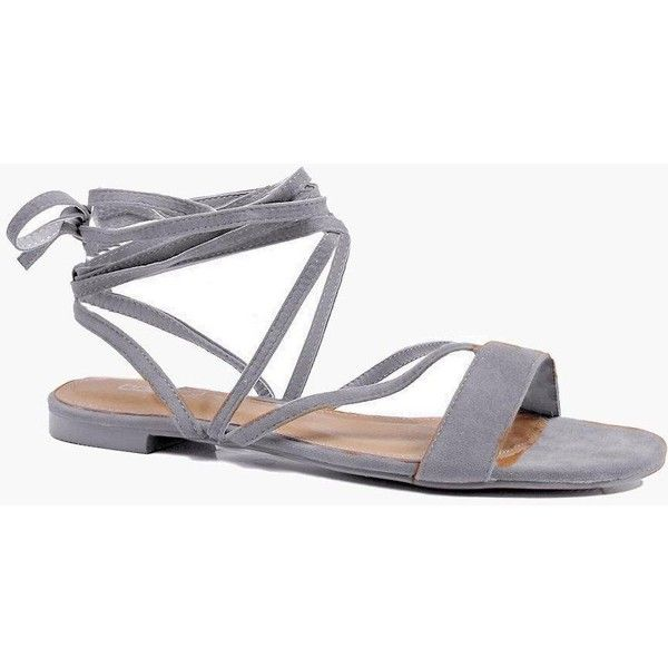 e990b3fc86 Boohoo Vanessa Strappy Lace Up Sandal (46 CAD) ❤ liked on Polyvore  featuring shoes