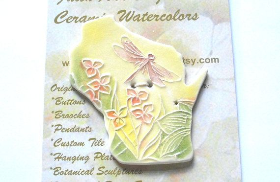 Isn't this pretty? Free Form Pastel Dragonfly Button made in Wisconsin textured ceramic by FaithAnnOriginals, $24.00