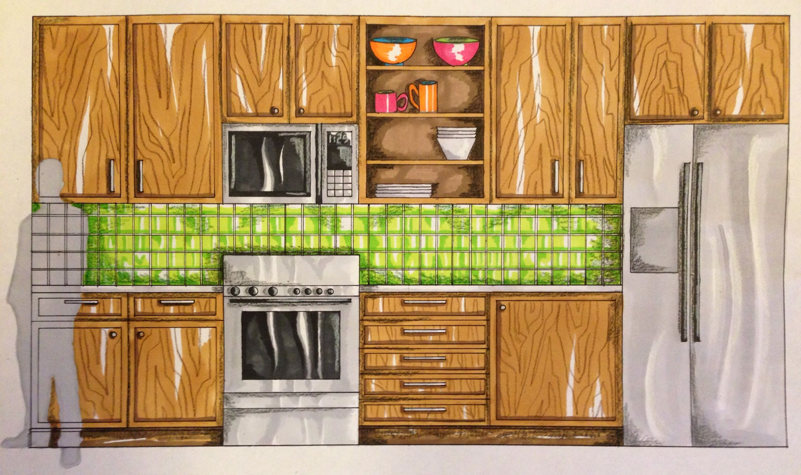 kitchen elevation rendering my artwork pinterest kitchens