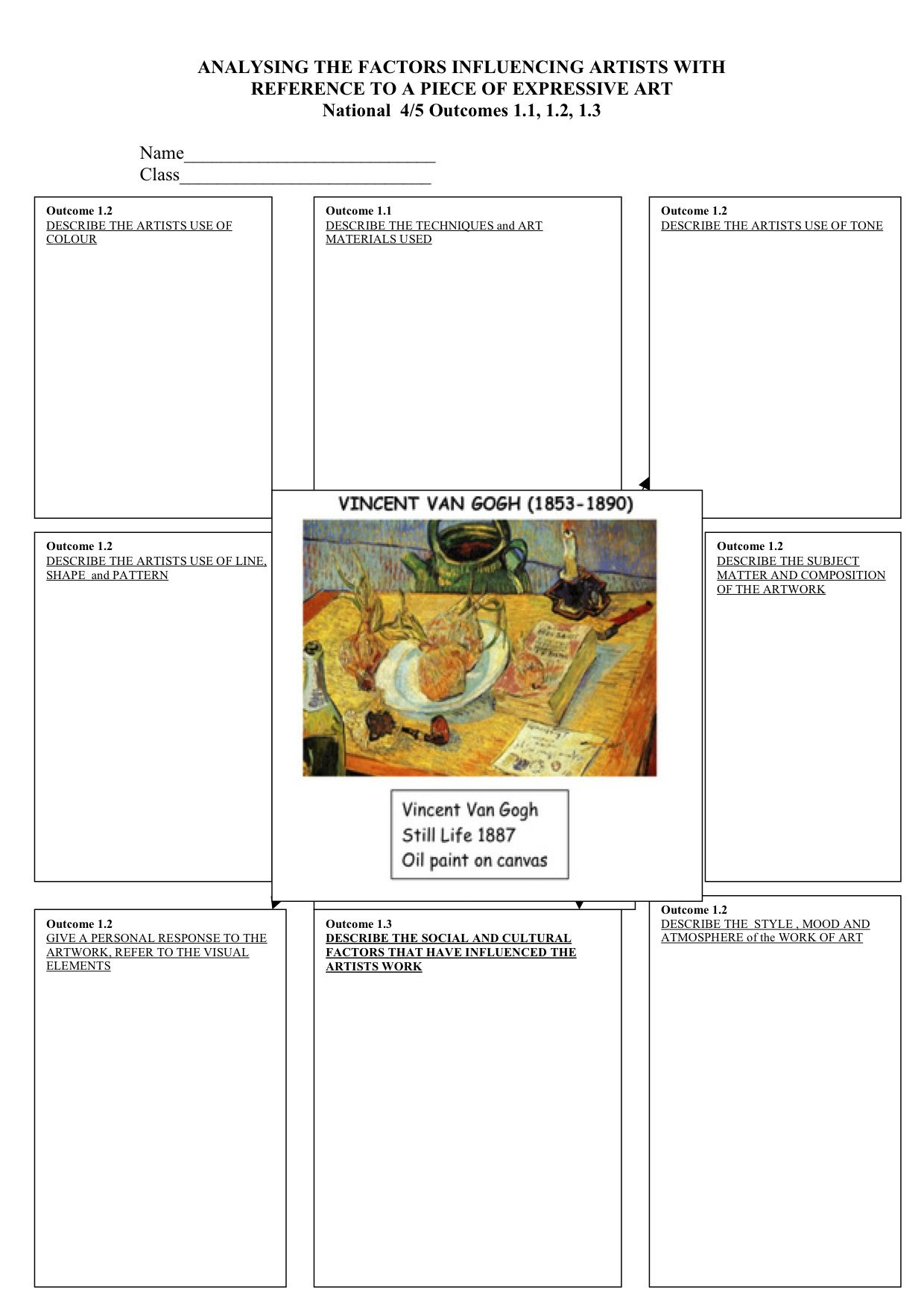 Element Of Art Value Worksheet Middle School Or High
