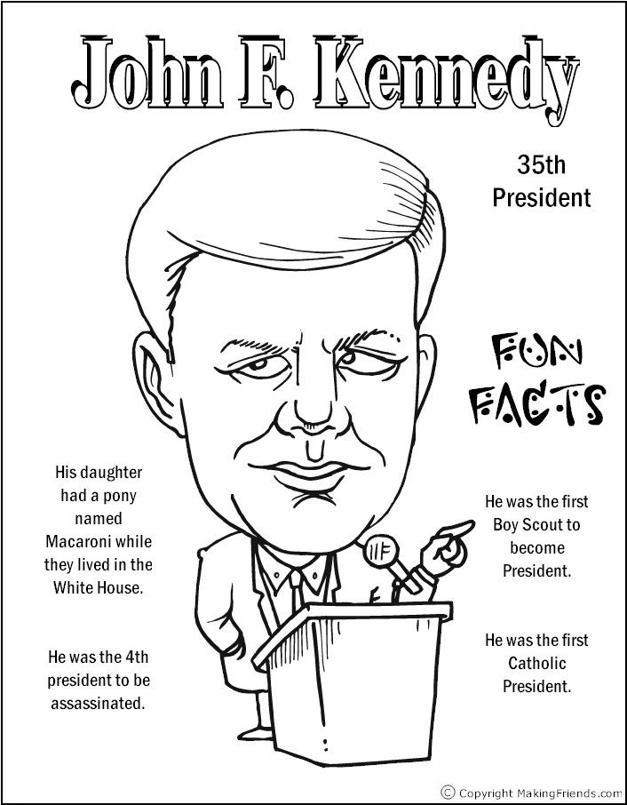 John F Kennedy Coloring Page Coloring Pages Pinterest Social