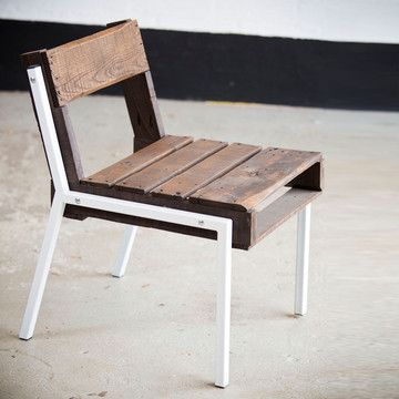 """Chair composed of vintage wood pallets and new painted steel legs. Dimensions: L 29"""", W 20,"""" H 29"""", seat height 18"""". From Rough.South.Home via Fab.com"""