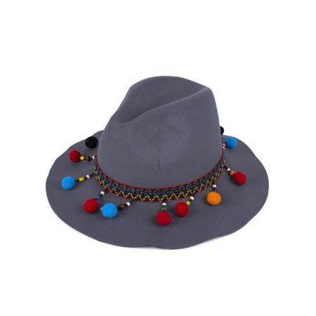 Small Pompon Pendant Ethnic Belt Felt Jazz Hat