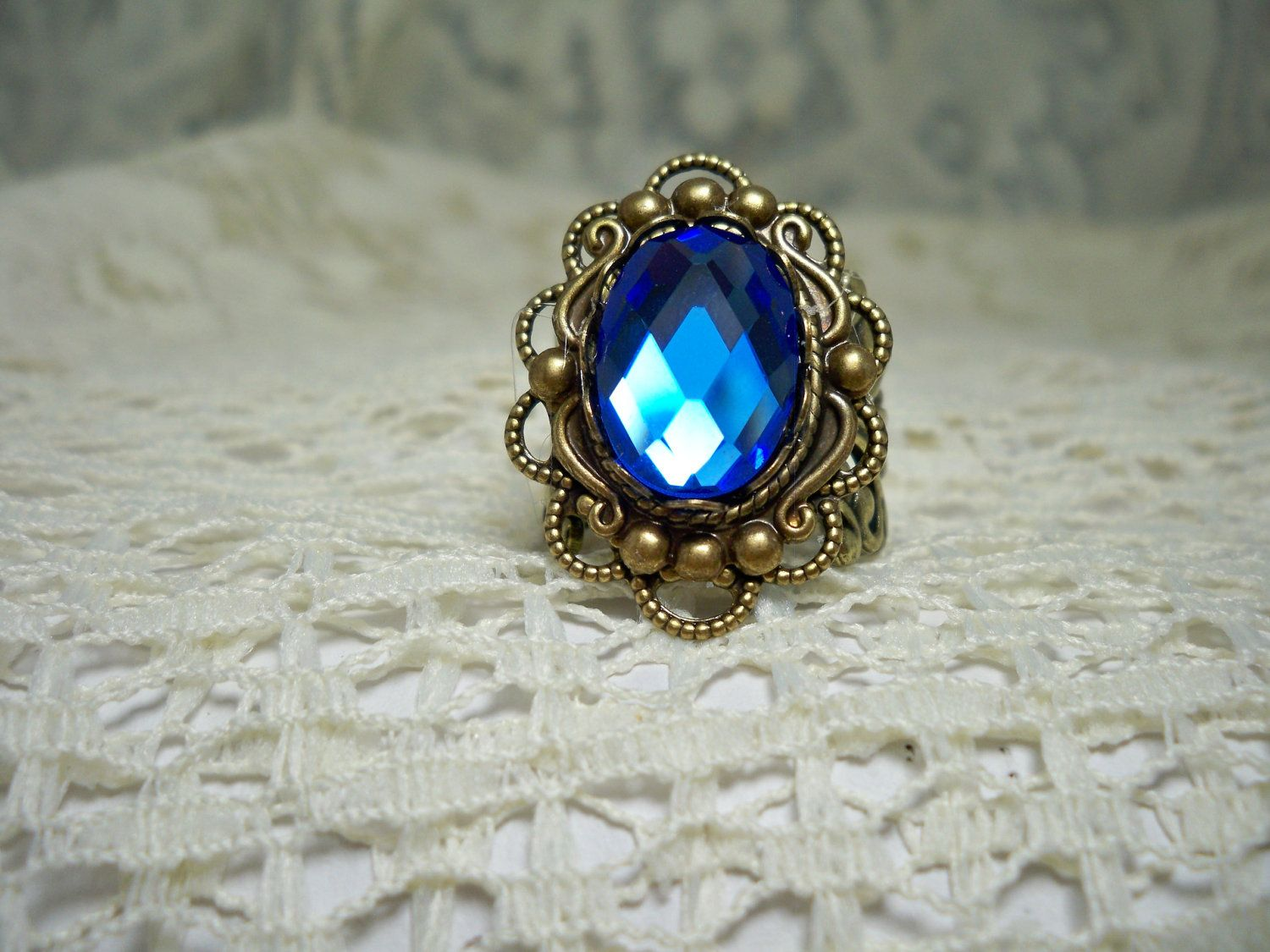 Ring -  Blue Sapphire  Glass Jewel  -  Vintage Style ring - Sale - Free Shipping. $14.95, via Etsy.