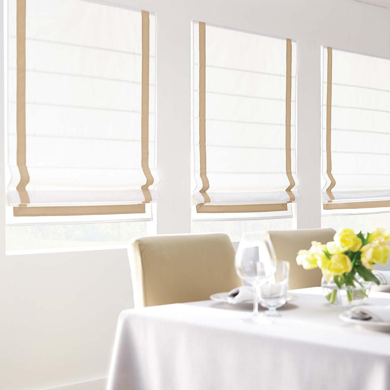 Room Darkening Thermal Roman Shades With Banding For 21
