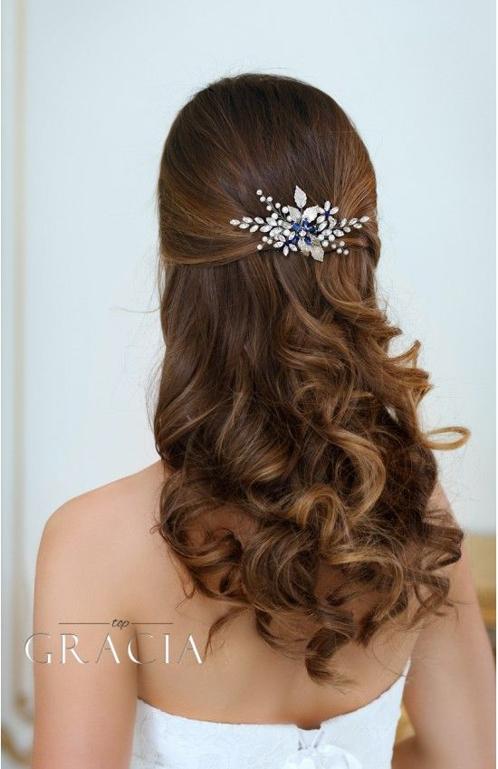PANAGIOTA Navy Royal Blue Crystal Flower Bridal Hair Comb by TopGracia