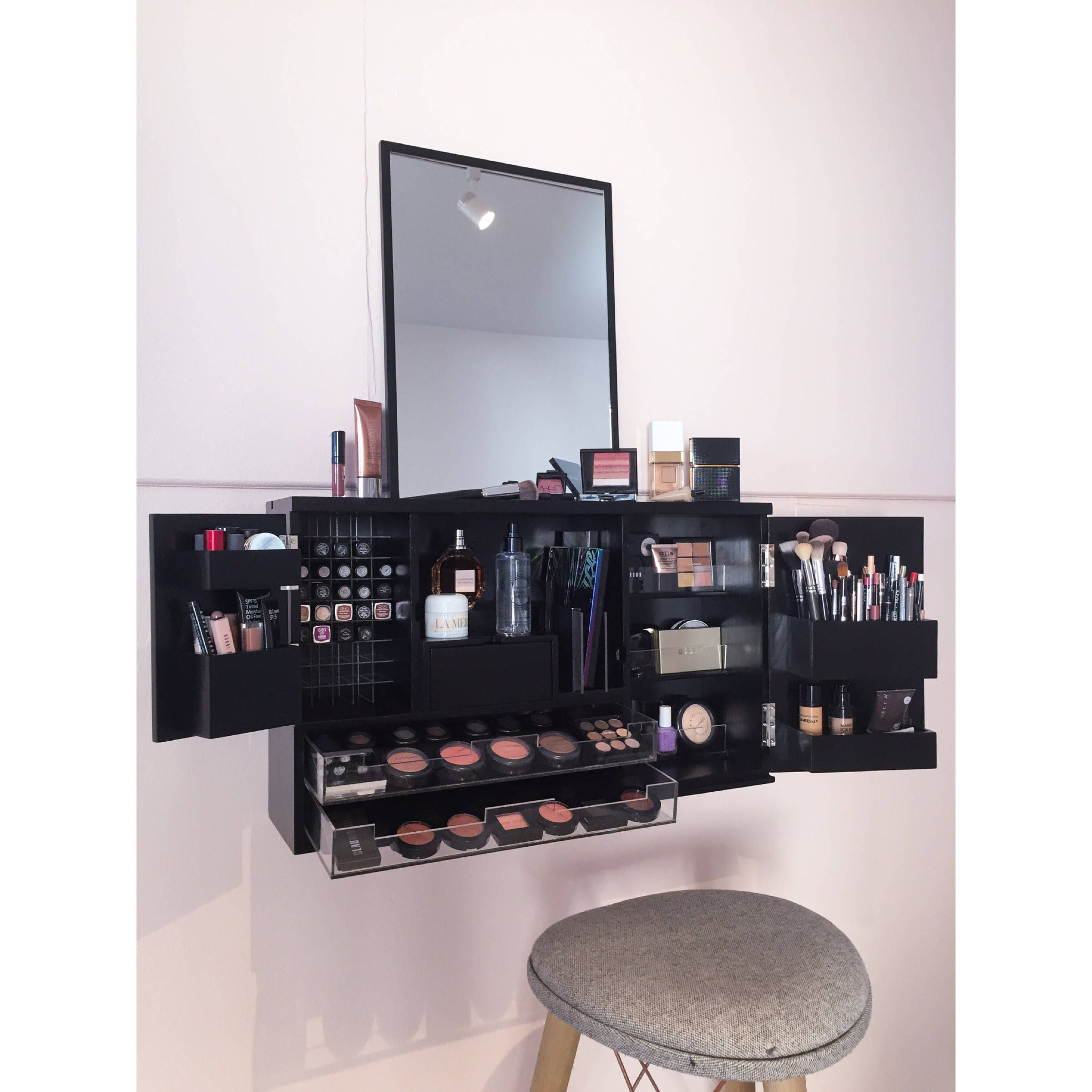 Black Wall Mounted/Counter top Makeup Organizer Vanity