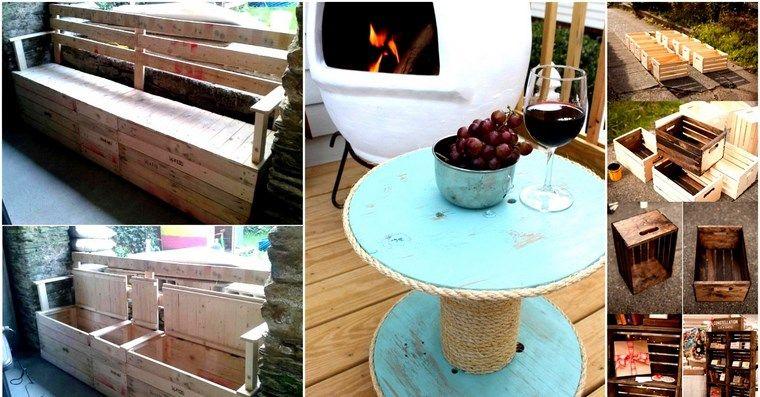cajas de madera recicladas Vieja rústica Pinterest Muebles - muebles reciclados