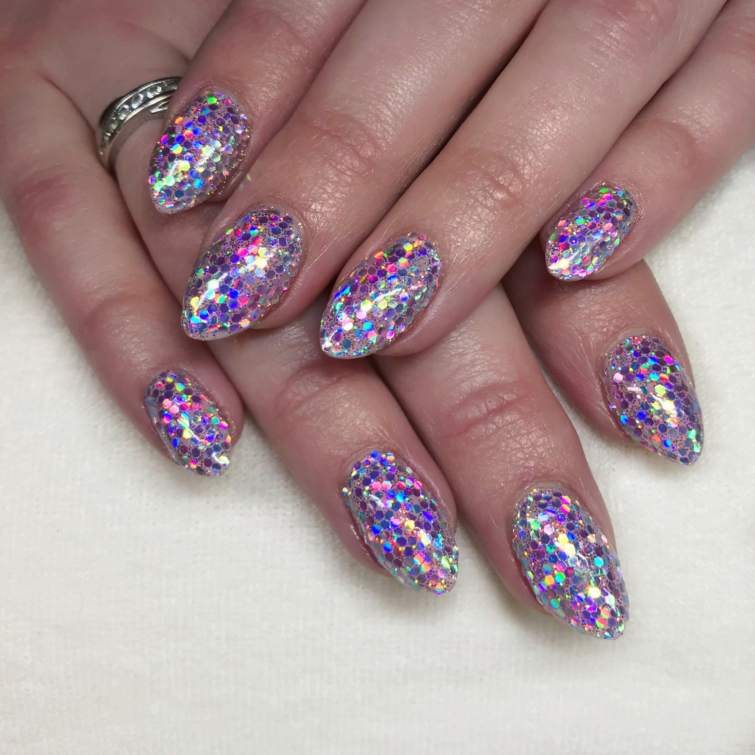 Lecenté Pearl Chunky Glitter nails by Jenny Nagorski with Fantasy ...