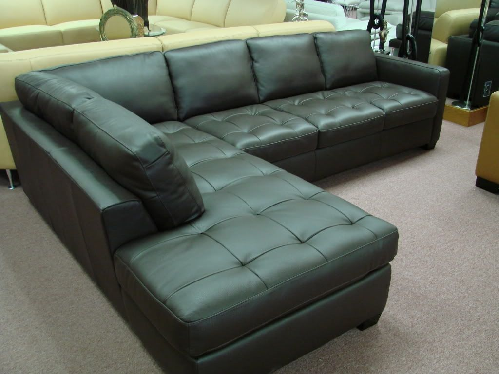 Natuzzi Black Leather Sectional Sofa