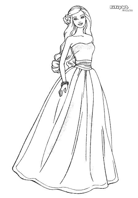 Барби в пышном платье id=   Раскраски, Детские раскраски ...