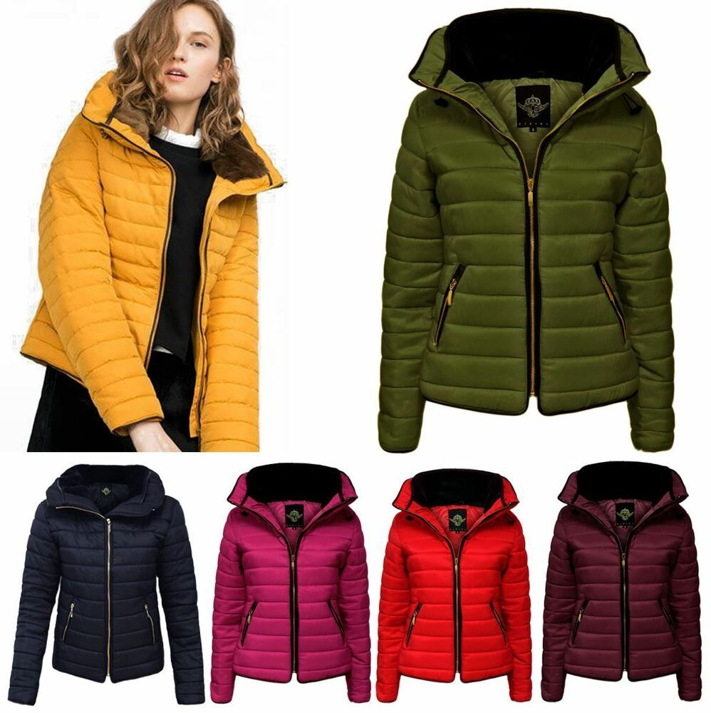 Womens Ladies Quilted Padded Puffer Bubble Wet Look Fur Collar Jacket Coat 8 14