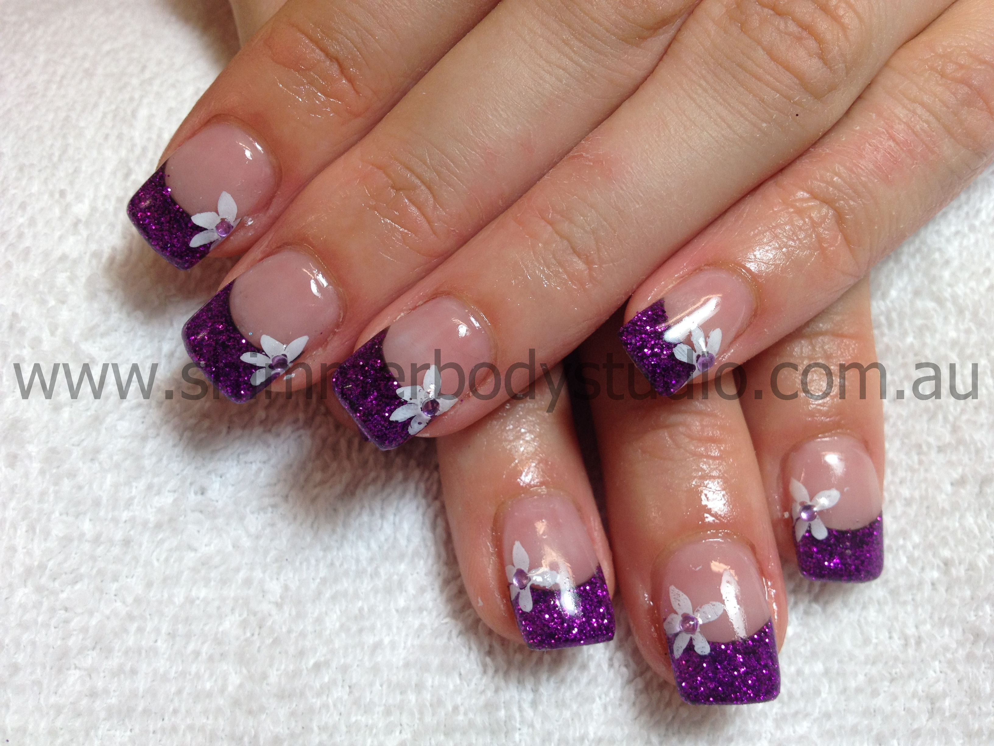 Gel nails, Glitter nails, Purple Nails, Flower Nail Art ...