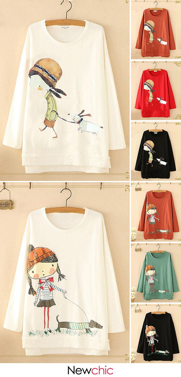 O-neck cartoon print long sleeve casual Sweatshirts and Spring pants for women. Up to 70% off! Shop now! #cartoon #cute #spring #outfits #casualspringoutfits