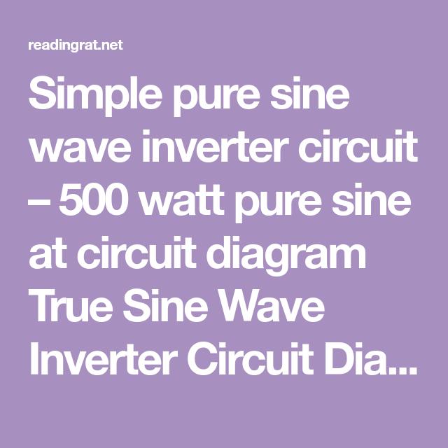 Super Simple Pure Sine Wave Inverter Circuit 500 Watt Pure Sine At Wiring 101 Cabaharperaodorg