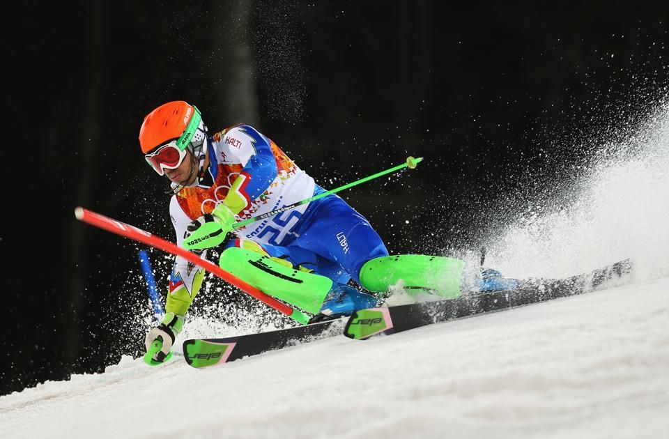 DAY 16:   Mitja Valencic of Solvenia competes during the Alpine Skiing Men's Slalom http://sports.yahoo.com/olympics