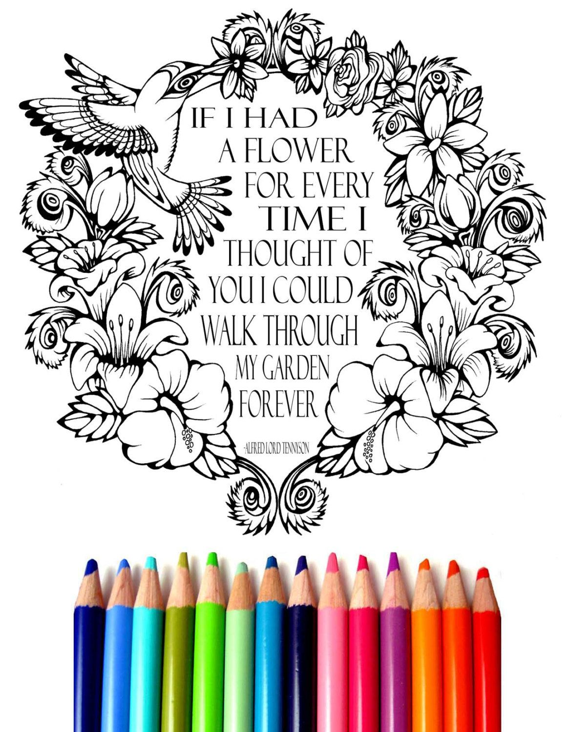 Hummingbird and Flowers Coloring Sheet, Hand-Drawn Coloring Page ...