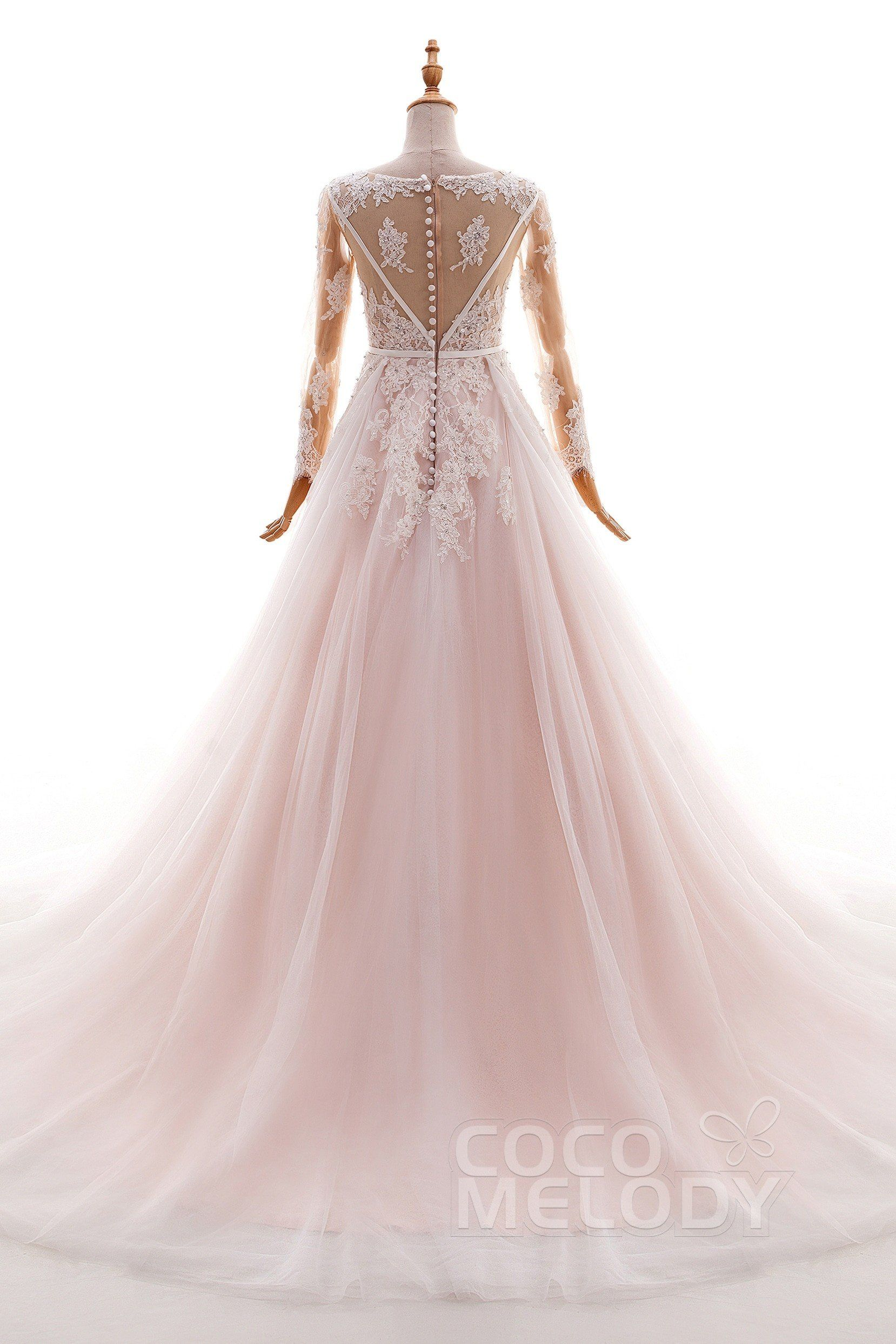 Aline court train tulle and lace wedding dress ld in a