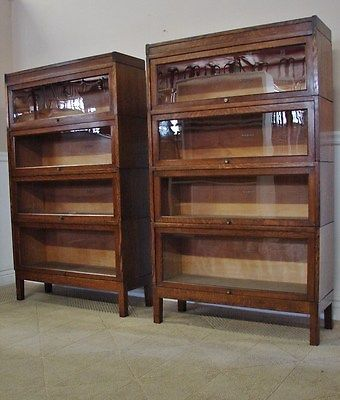 Antique Oak Barristers Bookcase Pair Lawyers 4 Section Stacks By