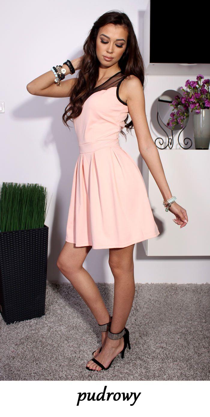 Kobieca Rozkloszowana Sukienka Dekolt Tiul P496 Graduation Dress Dresses Fashion