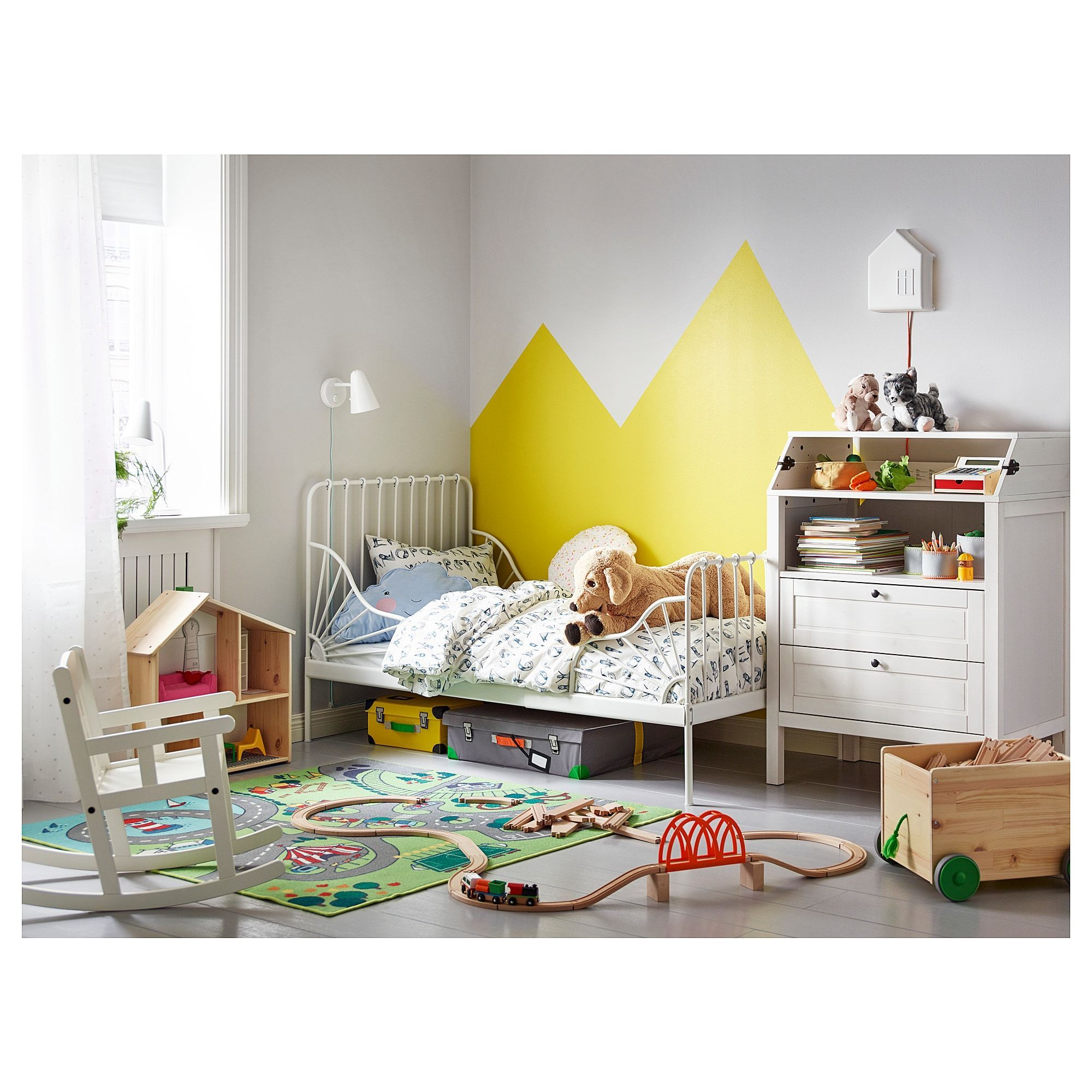 IKEA MINNEN Ext bed frame with slatted base white