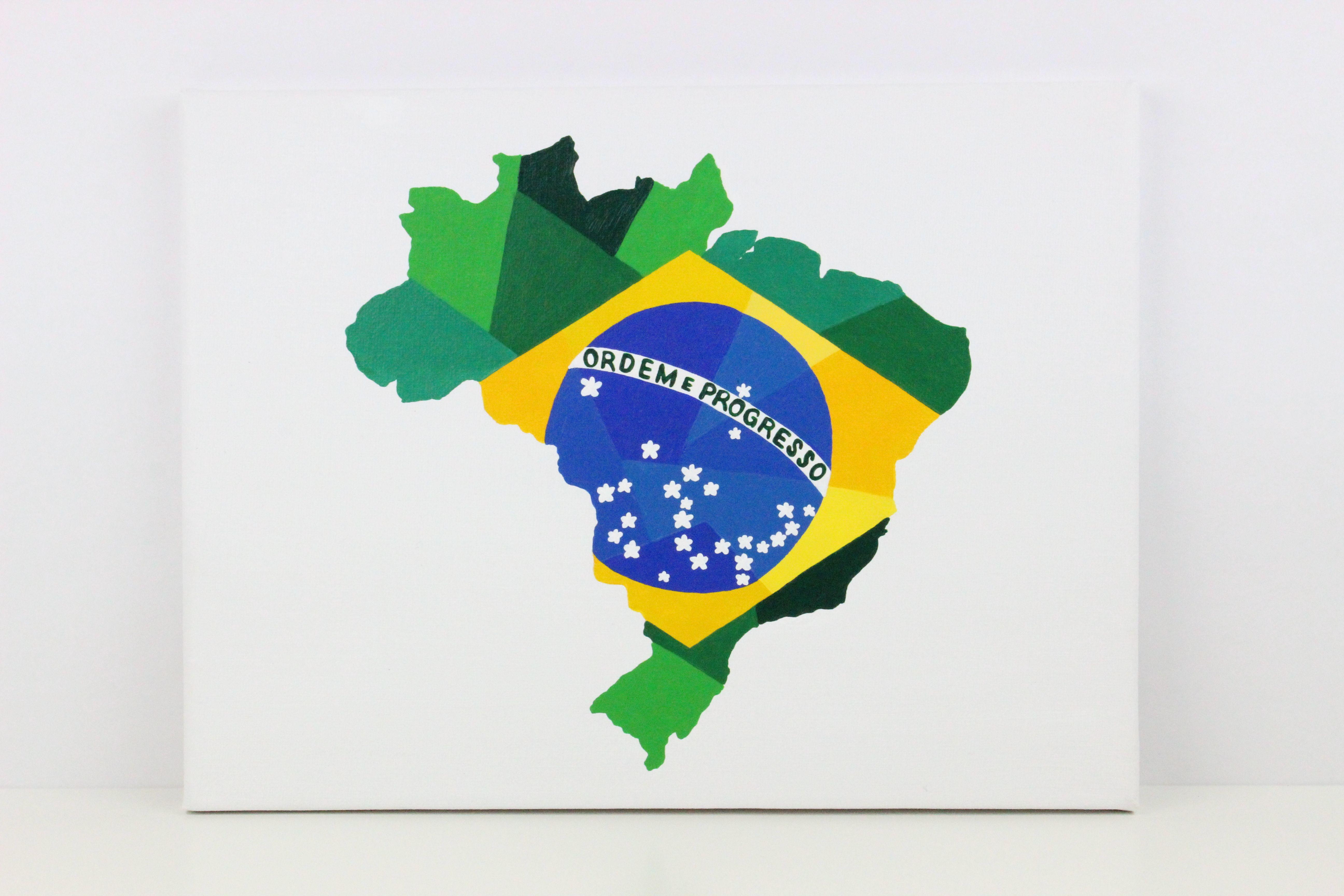 Brazil Painting Original Painting Map Gift Brazil Art Brazil Map Brazil Flag Brazil Gift Map Painting Flag Painting Flag Art