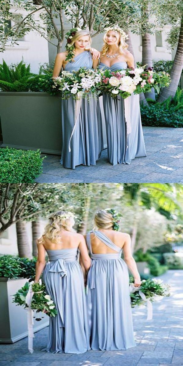A-Line Light Blue Chiffon Long Bridesmaid Dresses,Mismatched Floor Length Bridesmaid Dresses,WG025 from veryprom