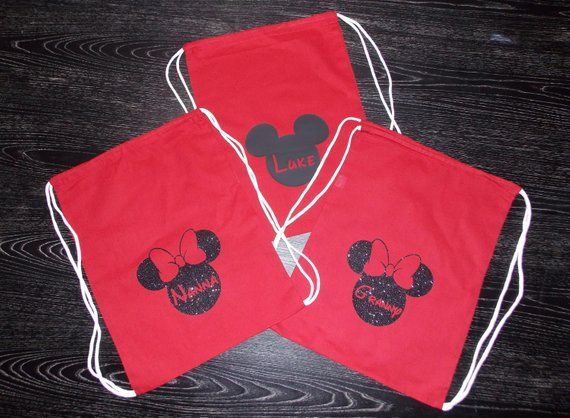 3d15d9310ee Disney Inspired Drawstring Bag Disney Mickey or Minnie Mouse Park Bag Mickey  Mouse Minnie Mouse Pers