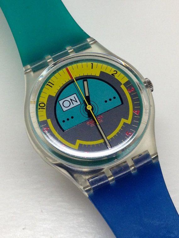 Vintage Swatch Watch Skyracer Gk106 1987 Rare Near Mint