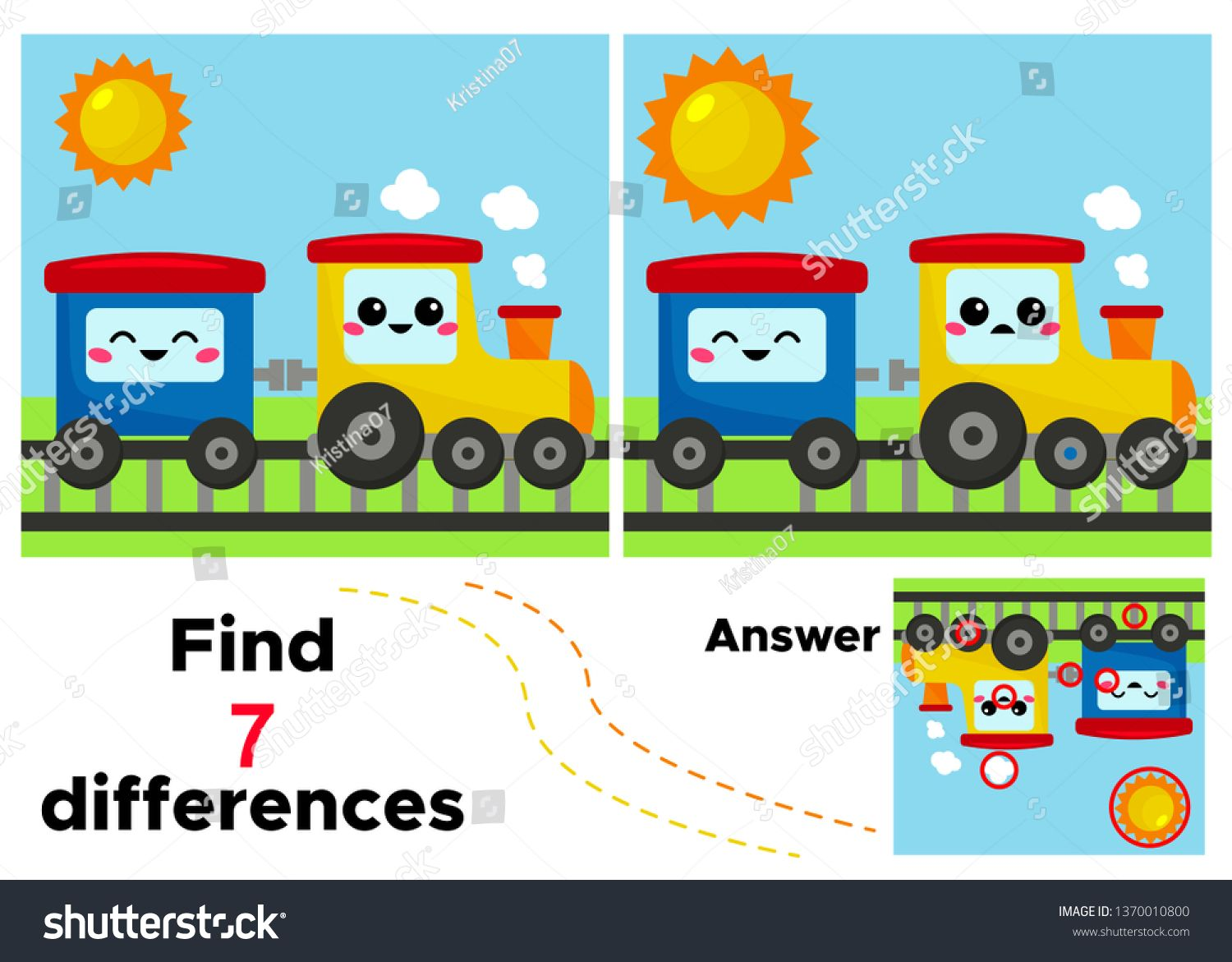 Find 7 Differences Vector Kawaii Train And Wagon