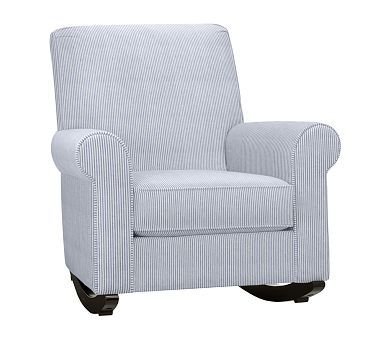 Charleston Upholstered Rocker Mini Stripe Baldwin Navy