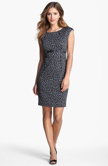 298edec1 Calvin Klein Animal Print Cap Sleeve Ponte Sheath Dress available at  #Nordstrom