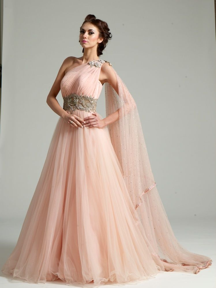 One Shoulder Indian Wedding Dress