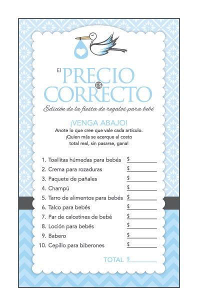 Instant Download Blue Stork Spanish Baby Shower Games Pack