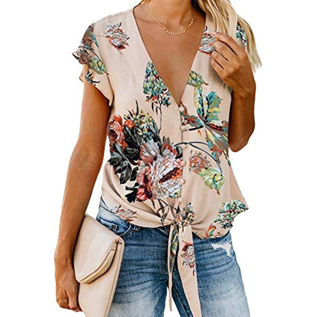 Blusa de mujer de manga corta anudada con estampado de
