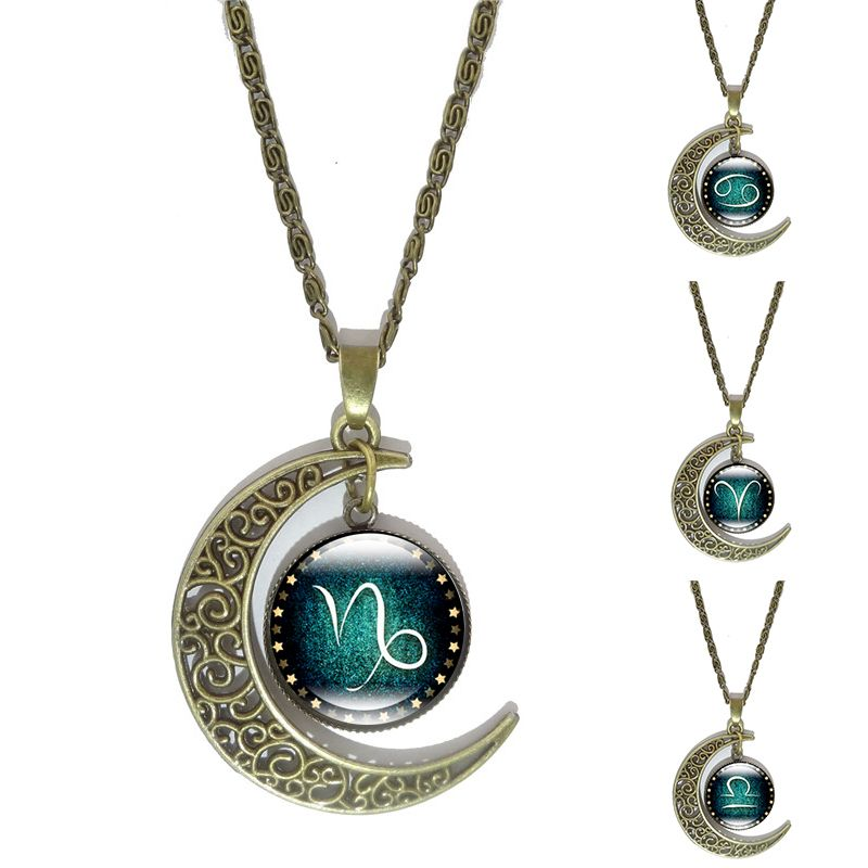 12 Constellation Glas Cabochon Hanger Ketting Vintage Brons Maansikkel Accessoires Collier Voor Vrouwen Sieraden