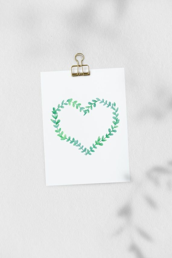 Photo of Floral wreath doodle frame clipart wedding clip art heart watercolor hand drawn graphics digital download PNG branch leaf # h9