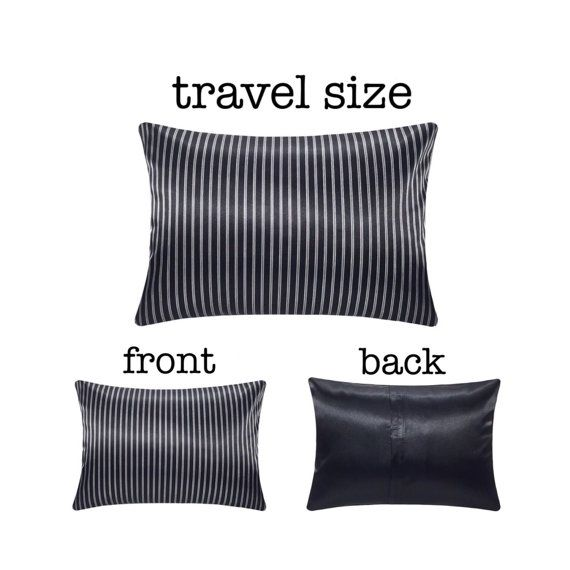 Black Satin Pillowcase Black Satin Travel Pillow Designer Travel Pillow Satin Travel